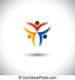 icônes, gens, coloré, heureux, -, excité, vecteur, graphique, &, concept