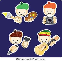icônes, gens, créatif