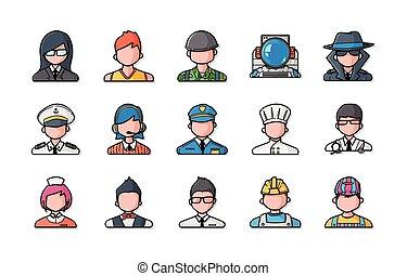 icônes, gens, ensemble, métiers, eps10