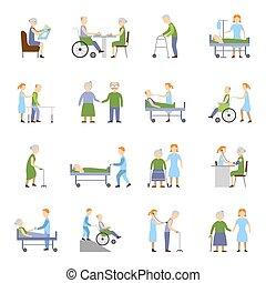 icônes, gens, ensemble, personnes agées, soins