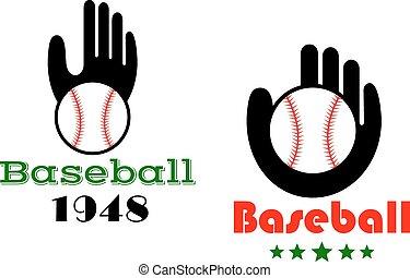 icônes, gens, main, emblèmes, base-ball, ou