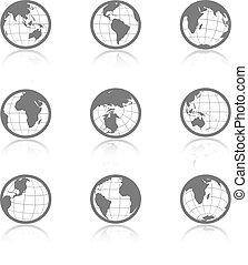 icônes, globe, -, symboles, vecteur, mondiale, ombre