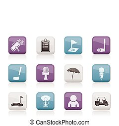 icônes, golf, sport