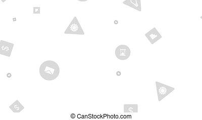 icônes, gris, animation, technologie, social, vidéo