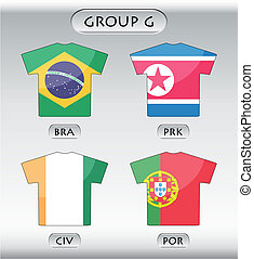 icônes, groupe, g, pays