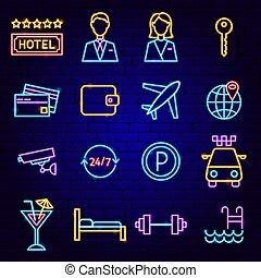 icônes, hôtel, néon