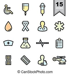 icônes, healthcare, ensemble
