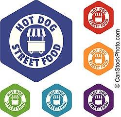 icônes, hexahedron, chien, chaud, vecteur, stand