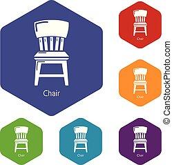 icônes, hexahedron, vecteur, chaise, retro