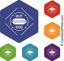 icônes, hexahedron, vecteur, hot-dog
