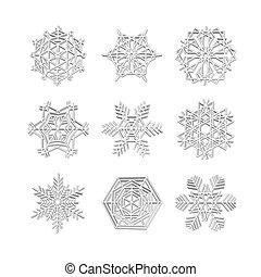 icônes, hiver, ensemble, collection, effet, flocon de neige, noël, neige blanche, vecteur, 3d