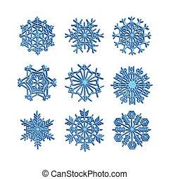icônes, hiver, ensemble, flocon de neige, ligne, 3d, noël, neige, vecteur, bleu