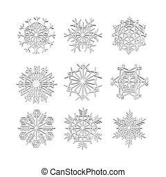 icônes, hiver, ensemble, flocon de neige, ligne, gris, 3d, noël, neige, vecteur