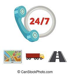 icônes, horloge, style, stockage, route, jps., symbole, web., camion, illustration, ensemble, collection, vecteur, dessin animé, rond, loqistic