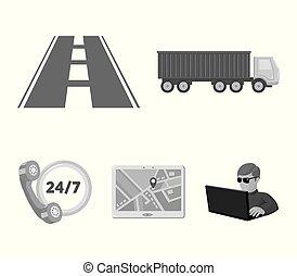 icônes, horloge, style, stockage, route, jps., symbole, web., illustration, ensemble, collection, vecteur, monochrome, camion, rond, loqistic