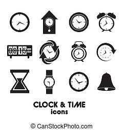 icônes, horloge, temps