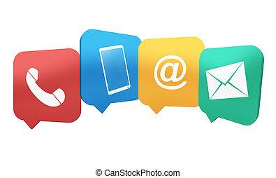 icônes, illustration, créatif, symboles, contact, conception, 4, combiné