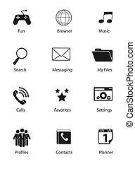 icônes, illustration, ensemble, vecteur, plat