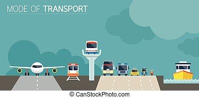 icônes, illustration, objets, mode, devant, transport, vue