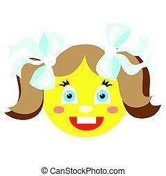 icônes, image, smiley, arrière-plan., vecteur, laughs., girl, blanc