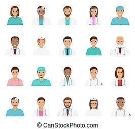 icônes, infirmières, set., gens, avatars, caractères, médecins, monde médical, faces.