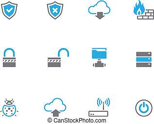 icônes, informatique, -, duotone, réseau
