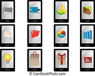 icônes, intelligent, téléphone affaires, mobile