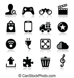icônes, internet web, -, ensemble, vecteur