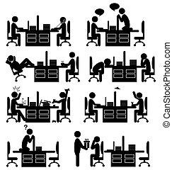 icônes, isolé, bureau, ensemble, blanc, situation, plat