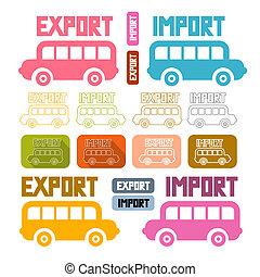 icônes, isolé, exportation, fond, importation, blanc