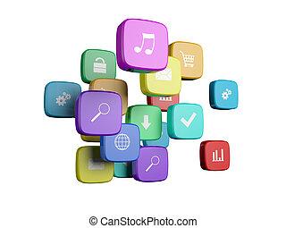 icônes, isolé, programme, nuage, fond, blanc, concept:, logiciel