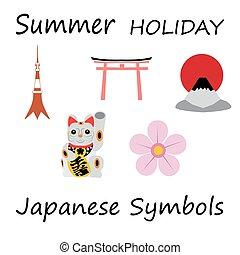 icônes, japon, voyage, concept., vecteur, conception, plat