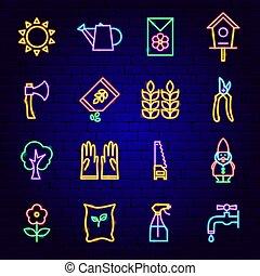 icônes, jardin, néon
