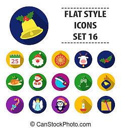 icônes, jour, stockage, raster, symbole, style., illustration, ensemble, noël, collection, dessin animé, grand, bitmap