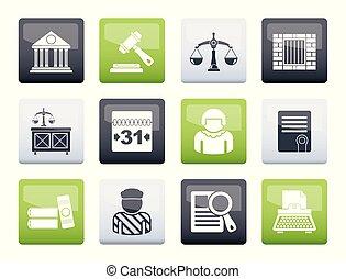icônes, justice, judiciaire, sur, système, fond couleur
