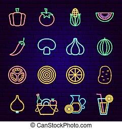 icônes, légumes, néon