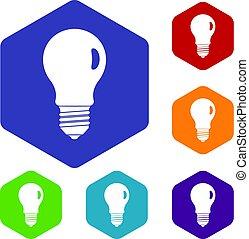 icônes, lampe, ensemble, hexagone
