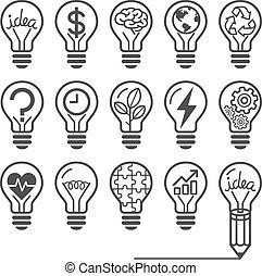 icônes, lightbulb
