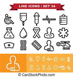 icônes, ligne, ensemble, 34