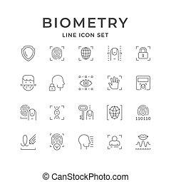 icônes, ligne, ensemble, biométrie