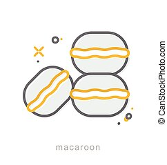 icônes, ligne, macaron, mince