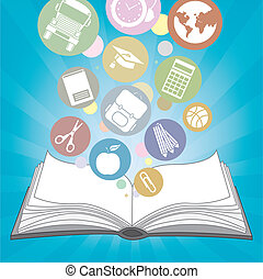 icônes, livre, école