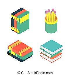 icônes, livres, ensemble, educations