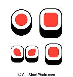 icônes, logotype., set., sushi, isolé, vecteur, logo., rouleau