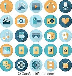 icônes, loisir, divertissement, conception, plat