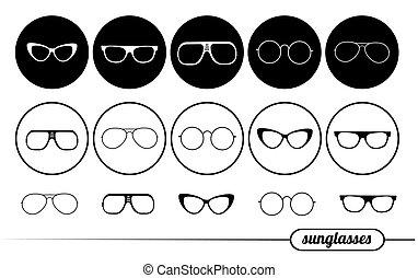 icônes, lunettes soleil