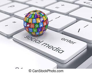 icônes, média, concept., social, sphère, clavier ordinateur, logiciel