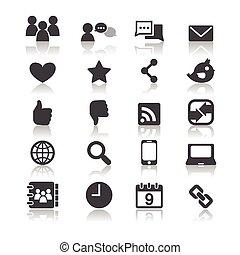 icônes, média, social