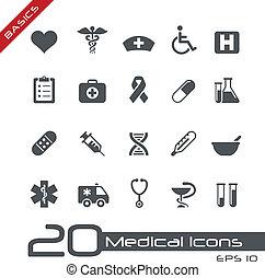 icônes médicales, //, élémentsessentiels