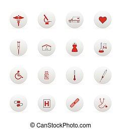 icônes médicales, et, boutons